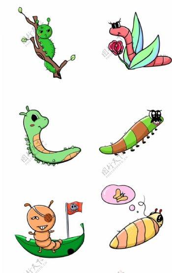 卡通毛毛虫组合套图图片
