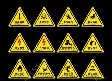 三角形当心安全标识牌图片