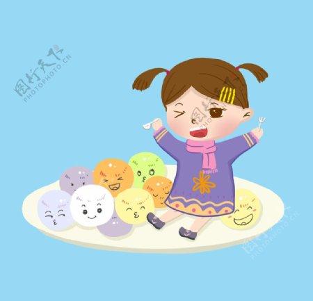 吃汤圆卡通女孩图片