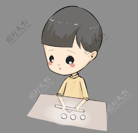 男孩包饺子图片