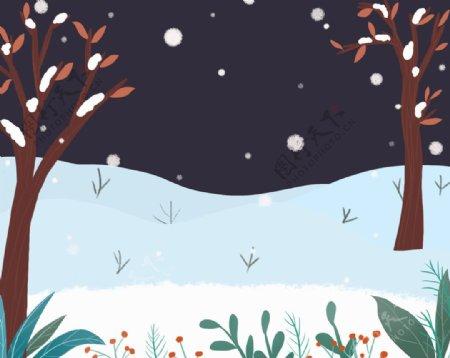 冬季飘雪场景图片
