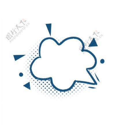 手绘云三角蓝色波点边框图片
