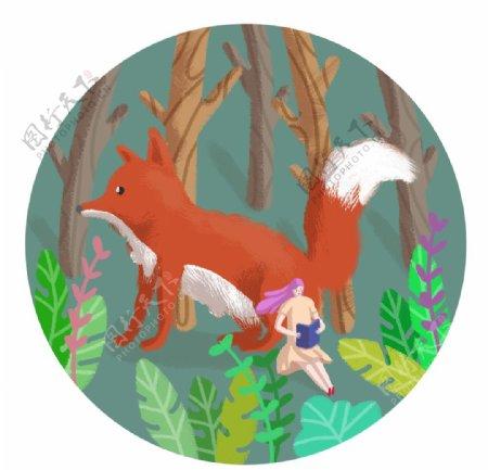 春天树林里女孩和狐狸梦幻世界图片