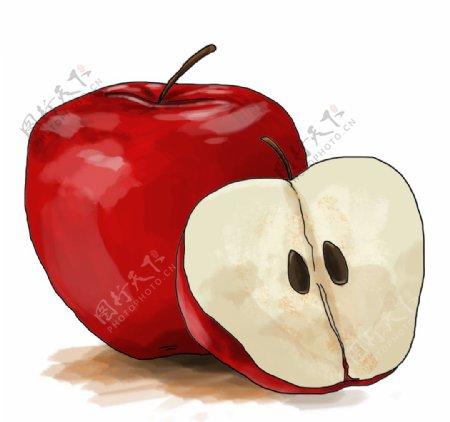 手绘卡通红苹果图片