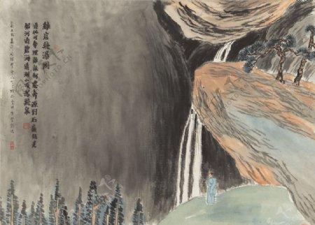 齐白石国画鸡岩飞瀑图图片