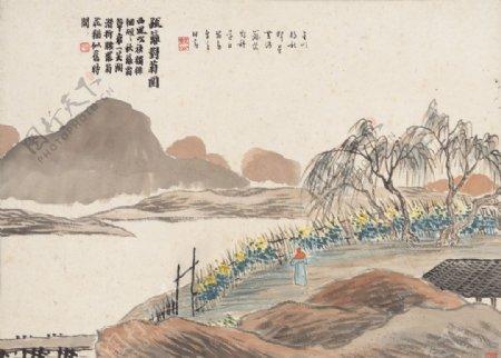 齐白石国画疏篱对菊图图片