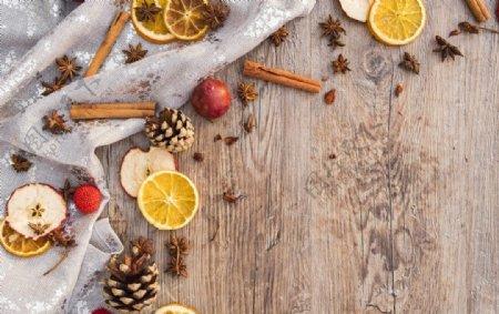 美食节日木板背景图片